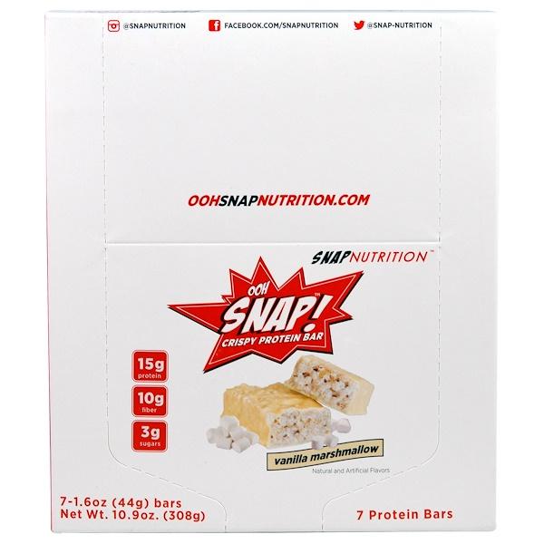 OOH Snap!, Crispy Protein Bar, Vanilla Marshmallow, 7 Bars, 1.6 oz (44 g) Each (Discontinued Item)