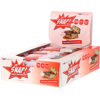 OOH Snap!, Crispy Protein Bar, Chocolate Peanut Butter, 7 Protein Bars, 1.62 oz (46 g) Each