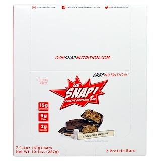OOH Snap!, Crispy Protein Bar, Chocolate Peanut, 7 Bars, 1.4 oz (41 g) Each