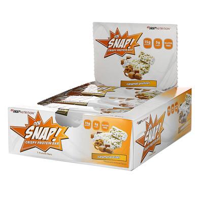 OOH Snap! Crispy Protein Bar, Caramel Pretzel, 7 Bars, 1.62 oz (46 g) Each