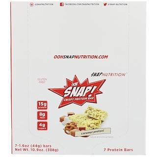 OOH Snap!, Crispy Protein Bar, Caramel Pretzel, 7 Bars, 1.6 oz (44 g) Each