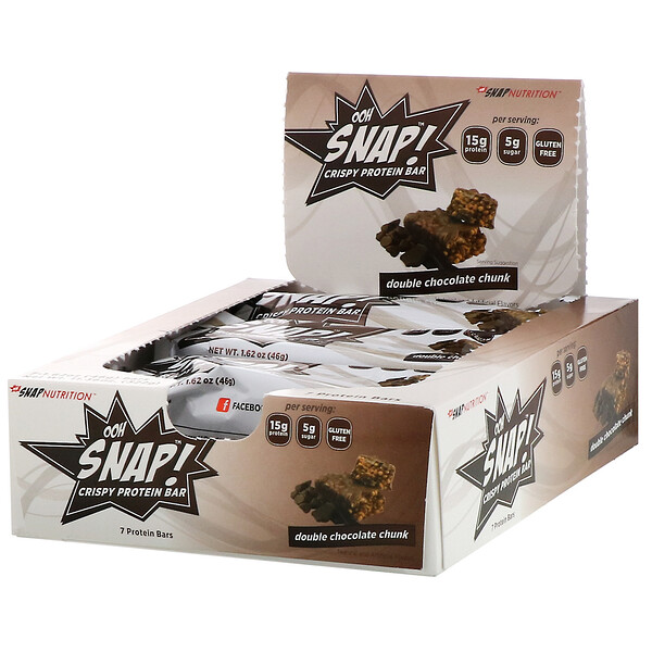 OOH Snap!, Crispy Protein Bar, Double Chocolate Chunk, 7 Bars, 1.62 oz (46 g) Each
