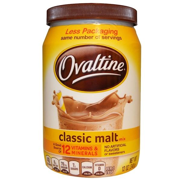 Ovaltine, Classic Malt Mix, Caffeine Free, 12 oz (340 g) (Discontinued Item)