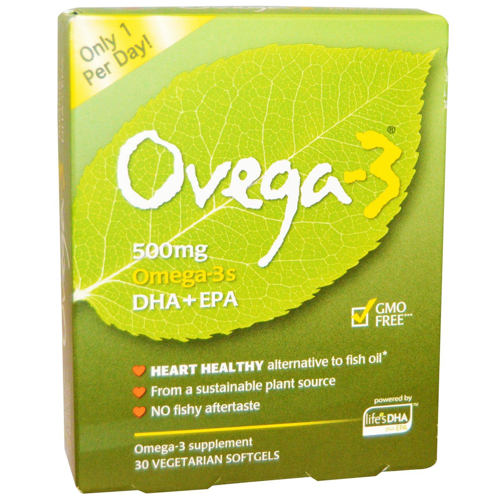 Ovega-3, Ovega-3 Omega-3s DHA + EPA, 500 mg, 30 Vegetarian Softgels
