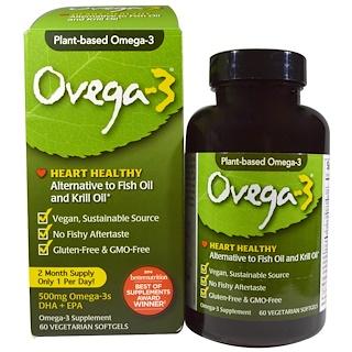 Ovega-3, Ovega-3, DHA + EPA, 500 mg, 60 Veggie Softgels