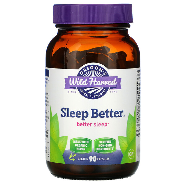 Oregon's Wild Harvest, Sleep Better, 90 Non-GMO Vegetarian Capsules
