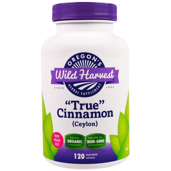 "Oregon's Wild Harvest, ""True"" Cinnamon (Ceylon), 120 Vegetarian Capsules"