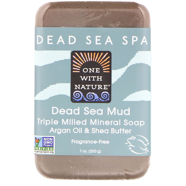 One with Nature, Triple Milled Mineral Soap Bar, Dead Sea Mud, Fragrance-Free, 7 oz (200 g)