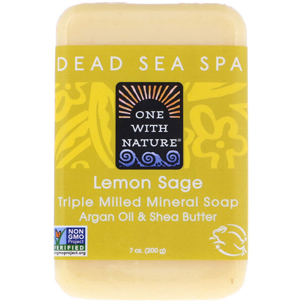 One with Nature, Triple Milled Mineral Soap Bar, Lemon Sage, 7 oz (200 g)