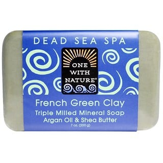 One with Nature, Triple Milled Mineral Soap, French Green Clay, 7 oz (200 g)