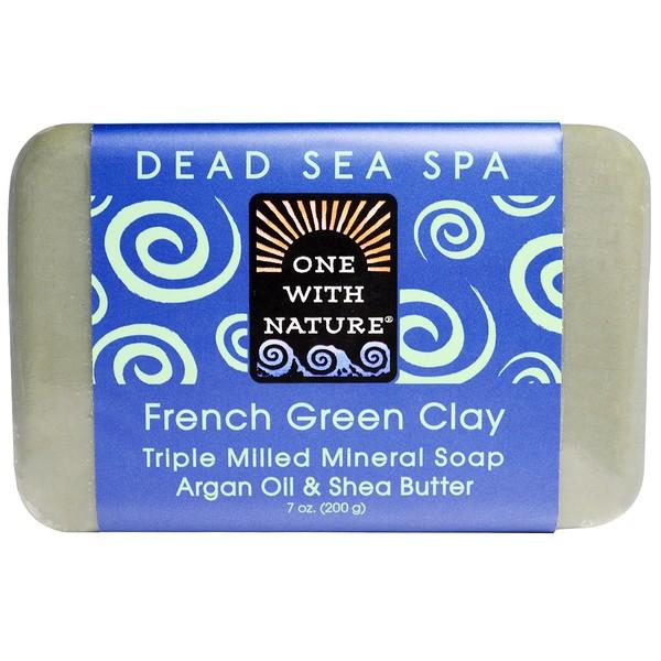 One with Nature, Тройное пилированное минеральное мыло, французская зеленая глина, 7 унций (200 г)