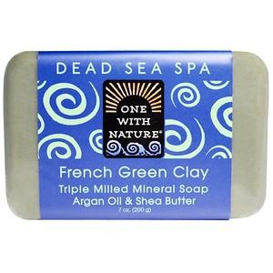 One with Nature, Тройное пилированное минеральное мыло, французская зеленая глина, 7 унций (200 г) инструкция, применение, состав, противопоказания