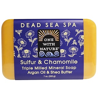 One with Nature, Triple Milled Mineral Soap, Sulfur & Chamomile, 7 oz (200 g)
