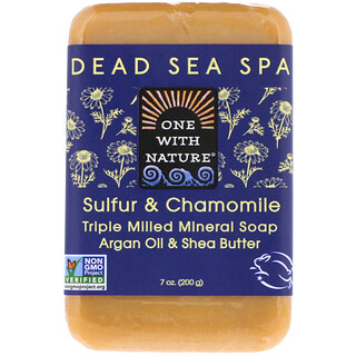 One with Nature, Triple Milled Mineral Soap Bar, Sulfur & Chamomile, 7 oz (200 g)