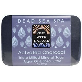 One with Nature, Triple Milled Mineral Soap, Actvated Charcoal, 7 oz (200 g)