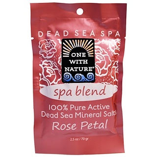 One with Nature, Dead Sea Mineral Salts, Spa Blend, Rose Petal, 2.5 oz (70 g)