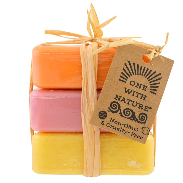 One with Nature, Dead Sea Mineral Soap Bars, Orange Blossom, Wildberry and Lemon Verbena, 3 Bars, 4 oz Each (Discontinued Item)