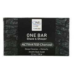 One with Nature, One Bar,剃須和沐浴皂,活性炭,3.5 盎司(100 克)