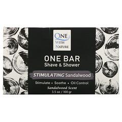 One with Nature, One Bar,剃須和沐浴皂,刺激檀香,3.5 盎司(100 克)