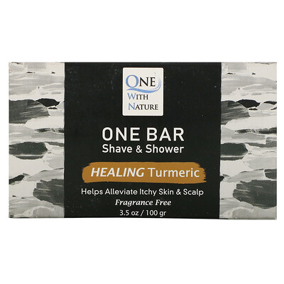 One with Nature One Bar, Shave & Shower, Healing Turmeric, Fragrance Free, 3.5 oz (100 g)