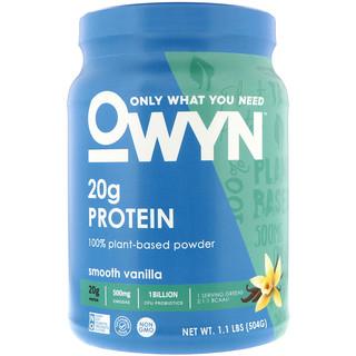 OWYN, Protein, 100% Plant-Based Powder, Smooth Vanilla, 1.1 lbs (504 g)