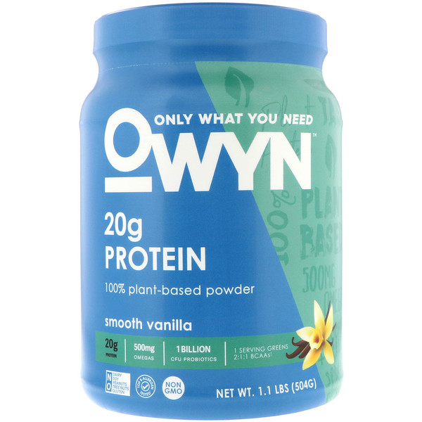 OWYN, Protein, 100% Plant-Based Powder, Smooth Vanilla, 1、1 lbs (504 g)