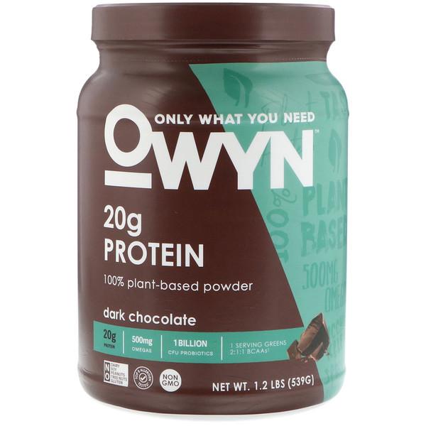 OWYN, Protein, 100% Plant-Based Powder, Dark Chocolate, 1.2 lb (539 g) (Discontinued Item)