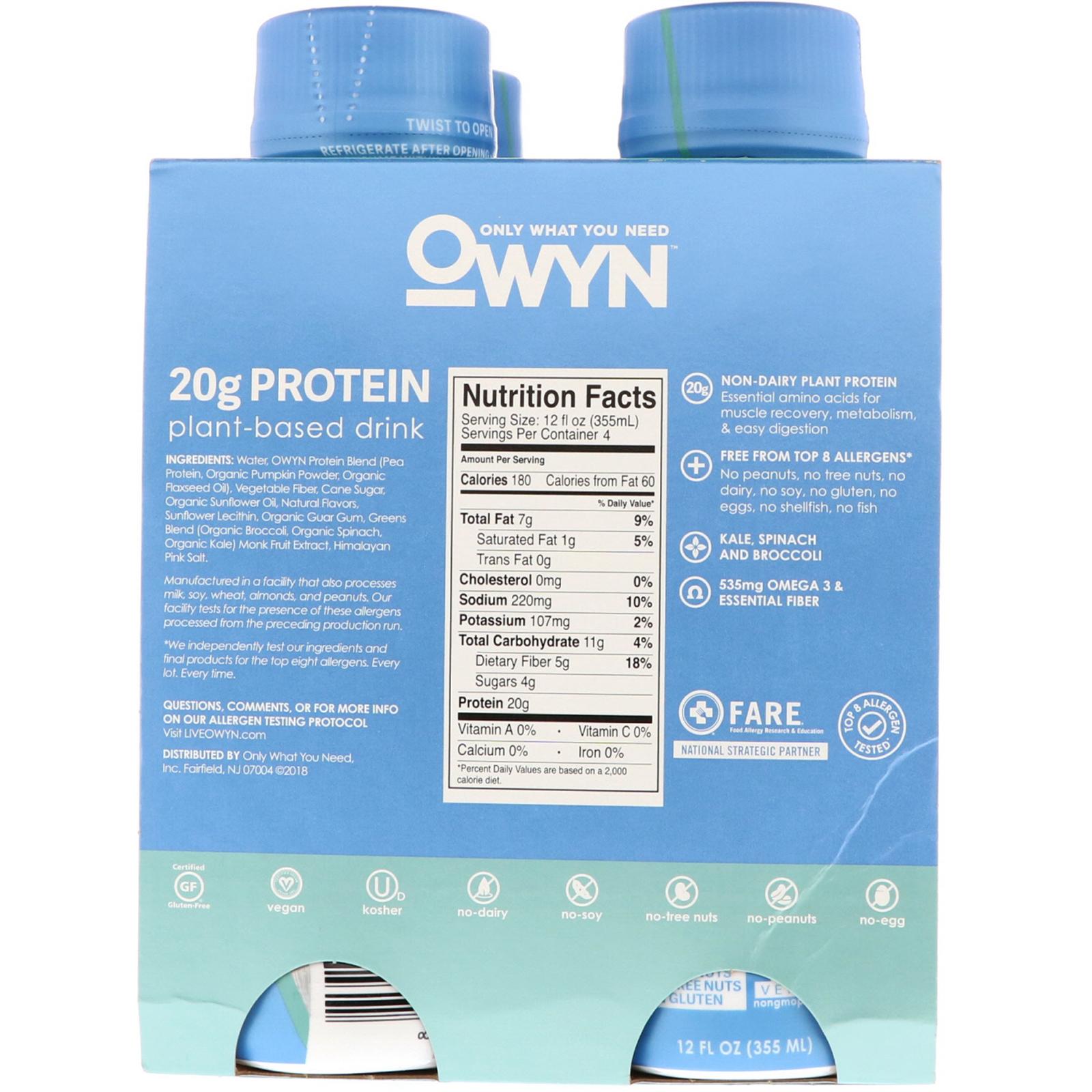 OWYN, Protein Plant-Based Shake, Smooth Vanilla, 4 Shakes, 12 fl oz (355  ml) Each