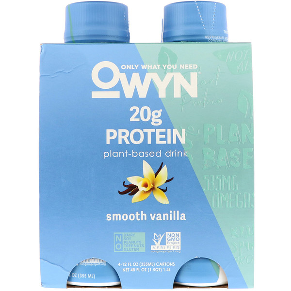 OWYN, Protein Plant-Based Shake, Smooth Vanilla, 4 Shakes, 12 fl oz (355 ml) Each