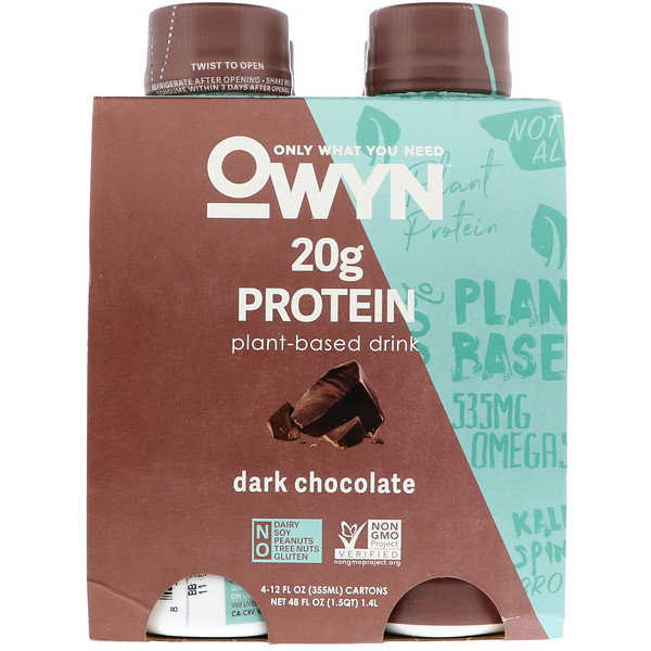 OWYN, Protein Plant-Based Shake, Dark Chocolate, 4 Shakes, 12 fl oz (355 ml) Each