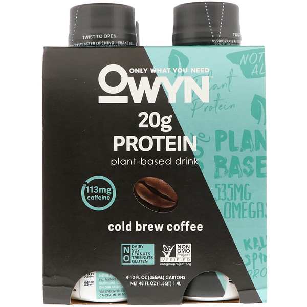 OWYN, Protein Plant-Based Shake, Cold Brew Coffee, 4 Shakes, 12 fl oz (355 ml) Each (Discontinued Item)