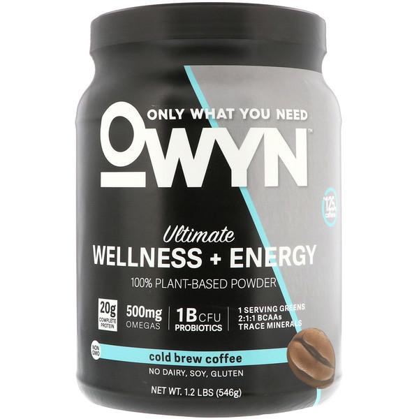 OWYN, Ultimate Wellness + Energy, 100% Plant-Based Powder, Cold Brew Coffee, 1.2 lb (546 g) (Discontinued Item)