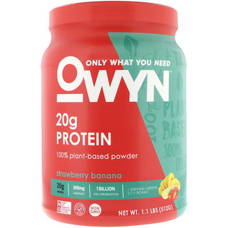 OWYN, Protein, 100% Plant-Based Powder, Strawberry Banana, 1.1 lbs (512 g)