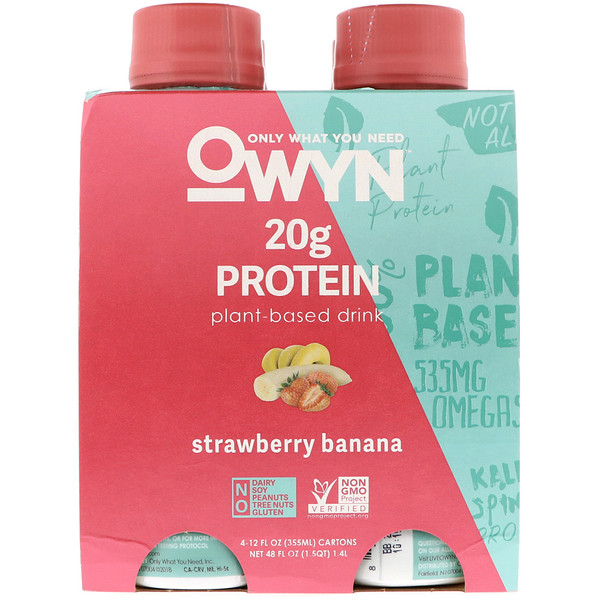 OWYN, Protein Plant-Based Shake, Strawberry Banana, 4 Shakes, 12 fl oz (355 ml) Each