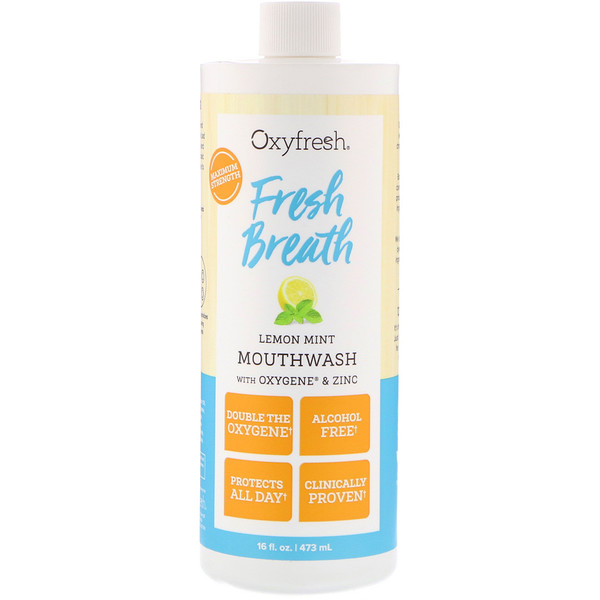 Oxyfresh, Fresh Breath, Lemon Mint Mouthwash with Oxygene & Zinc, 16 fl oz (473 ml)