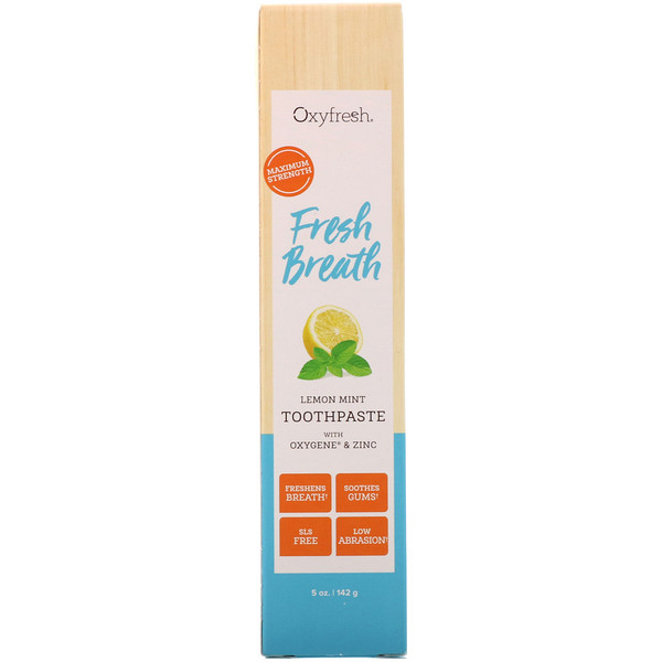 Oxyfresh, Fresh Breath, Lemon Mint Toothpaste with Oxygene & Zinc, 5 oz (142 g) (Discontinued Item)