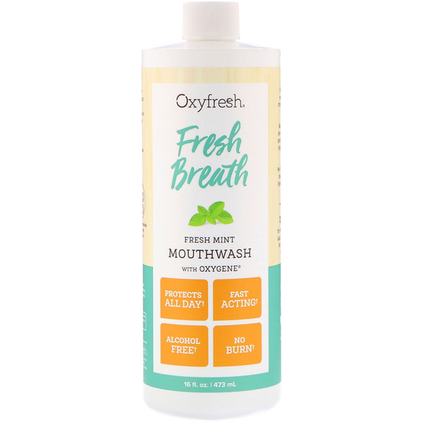 Oxyfresh, Fresh Breath, Fresh Mint Mouthwash with Oxygene, 16 fl oz (473 ml)