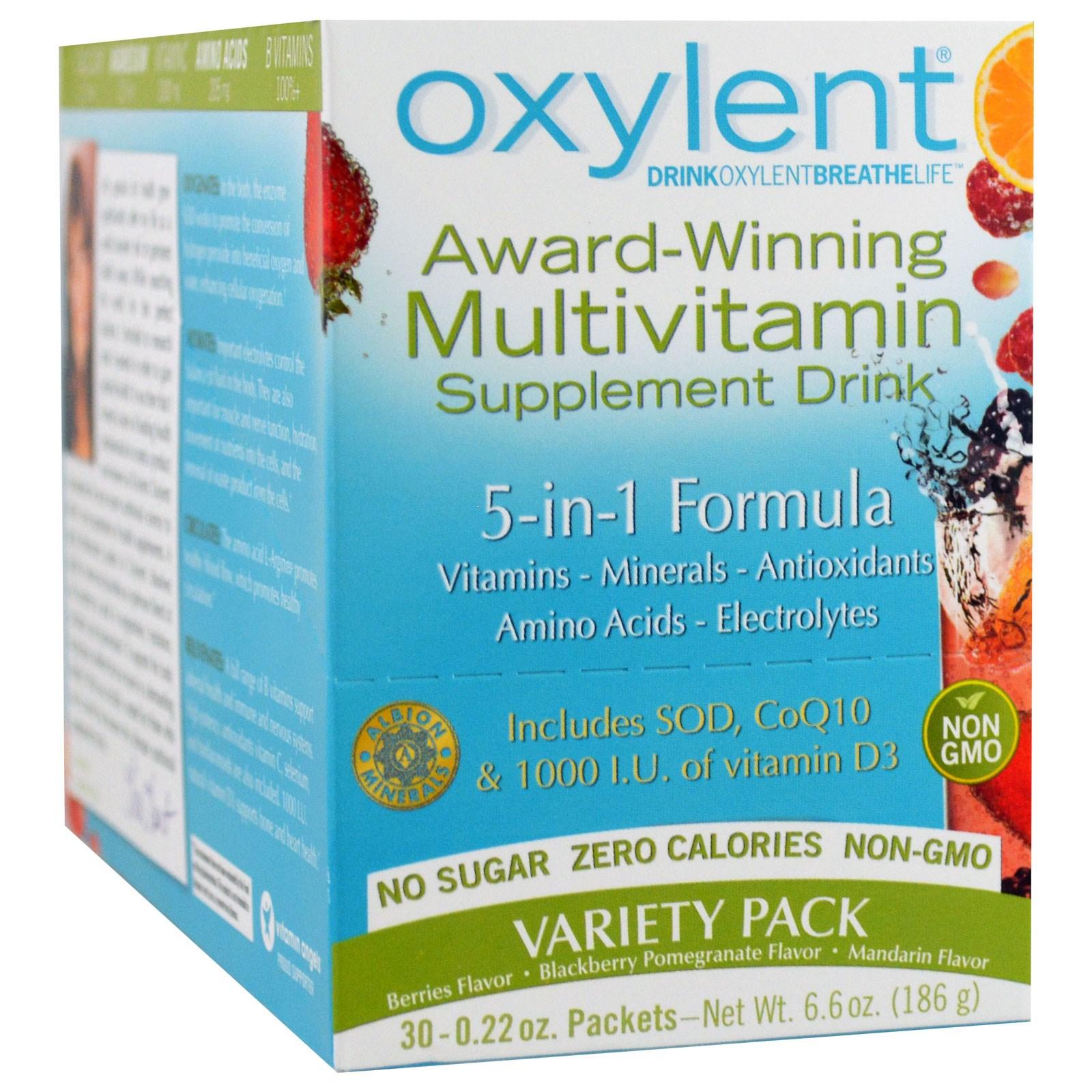 Vitalah, Oxylent, мультивитаминный напиток, ассорти, 30 пакетиков по 5,9 г каждый