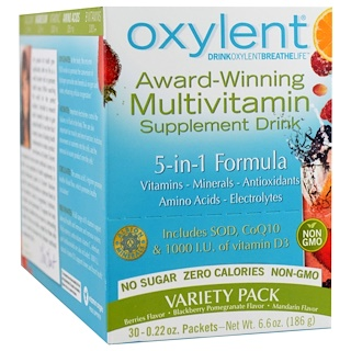 Vitalah, Oxylent, Multivitamin Supplement Drink, Variety Pack, 30 Packets, (6.3 g) Each