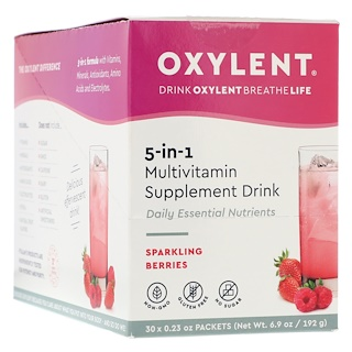 Vitalah, Oxylent, Multivitamin Supplement Drink, Sparkling Berries, 30 Packets, 0.23 oz (6.4 g) Each