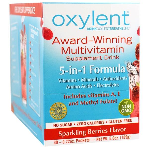 Vitalah, Oxylent, Multivitamin Supplement Drink, Sparkling Berries, 30 Packets, (6.3 g) Each