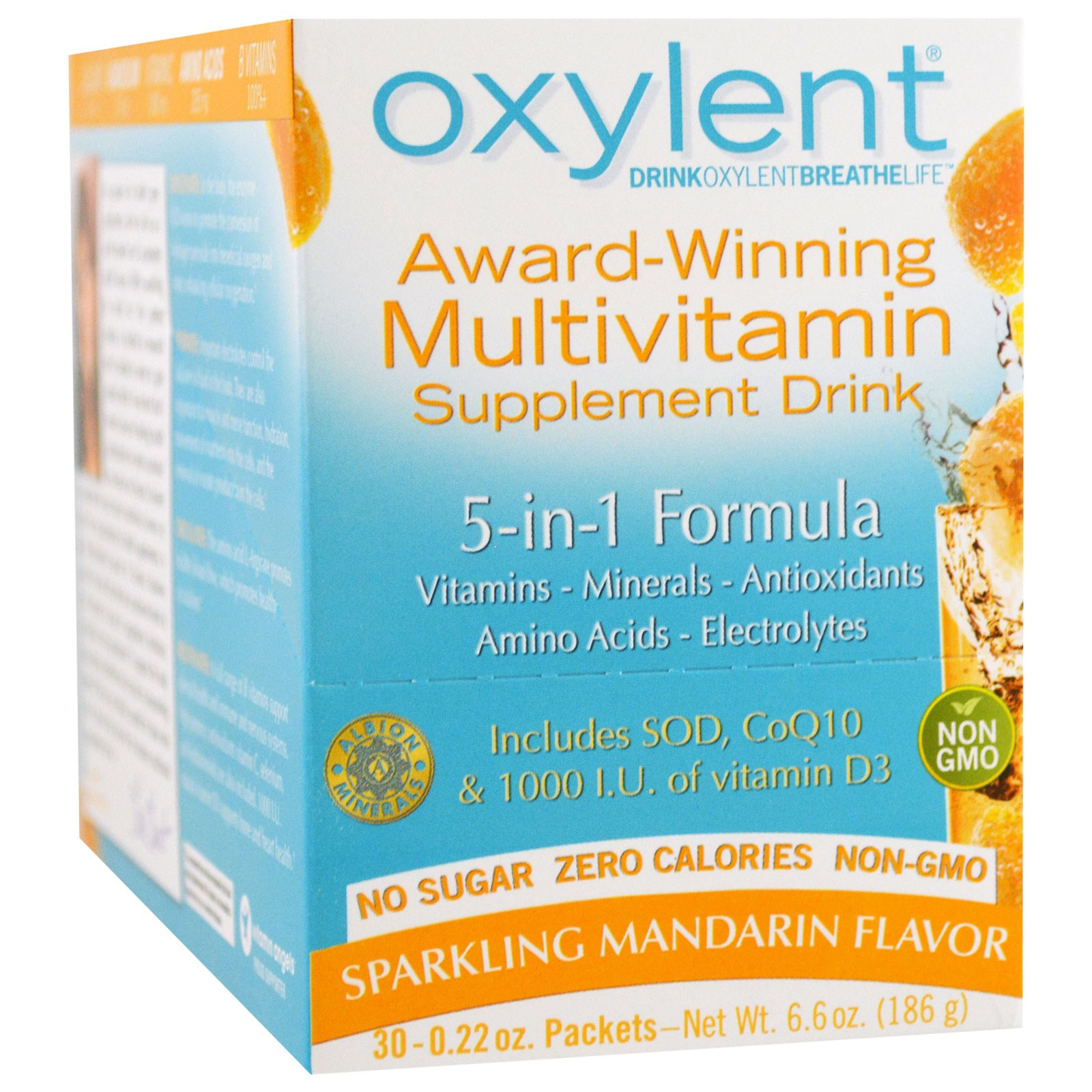 Vitalah, Oxylent, Multivitamin Supplement Drink, Sparkling Mandarin, 30 Packets, 0.22 oz (6.2 g) Each