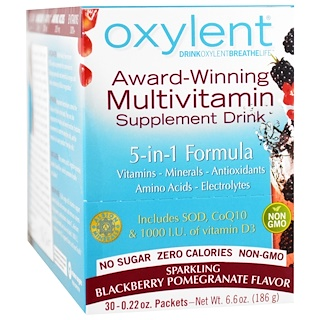 Vitalah, Oxylent, Multivitamin Supplement Drink, Sparkling Blackberry Pomegranate, 30 Packets, 0.22 oz (6.3 g) Each