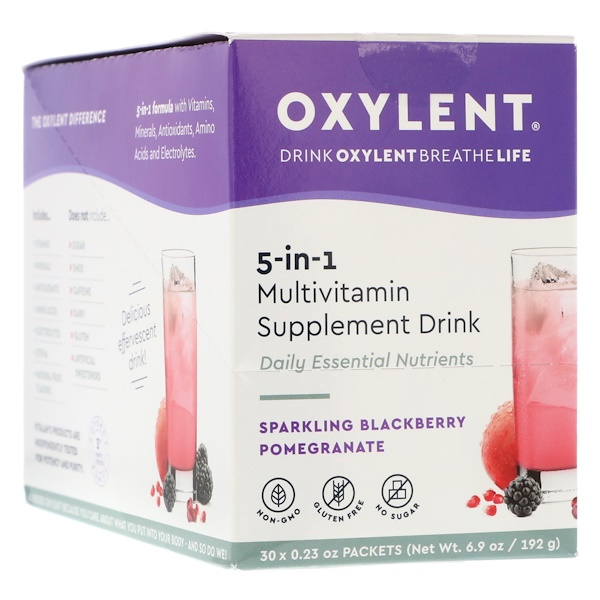 Vitalah, Oxylent, Multivitamin Supplement Drink, Sparkling Blackberry Pomegranate, 30 Packets, 0.23 oz (6.4 g) Each