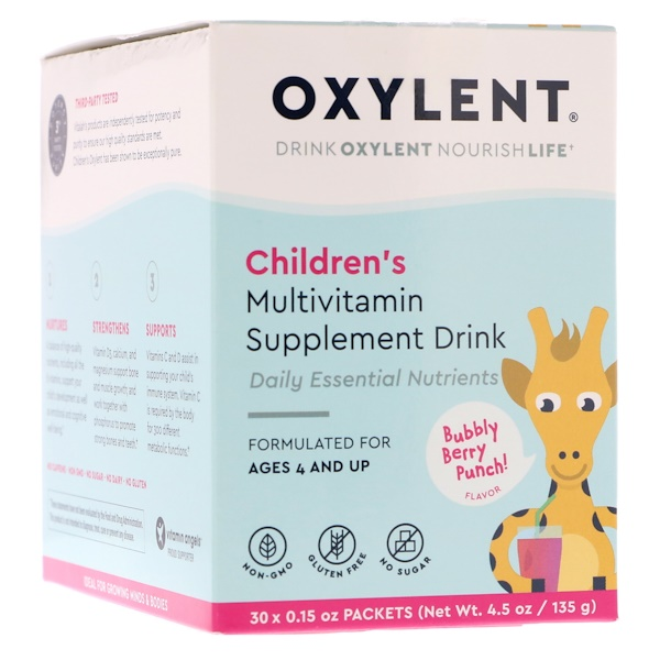 Vitalah, Children's Oxylent, Multivitamin Supplement Drink, Bubbly Berry Punch Flavor, 30 Packets, 0.15 oz (4.5 g) Each (Discontinued Item)