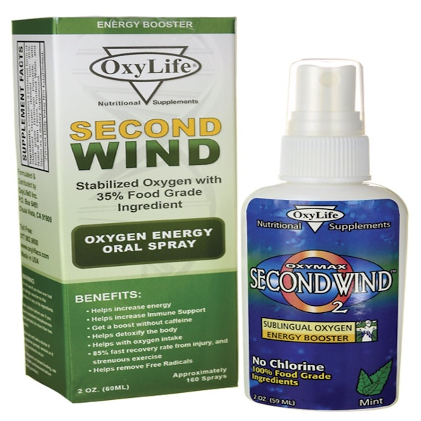 OxyLife, Second Wind, Oxygen Energy Oral Spray, 2 oz (60 ml) (Discontinued Item)