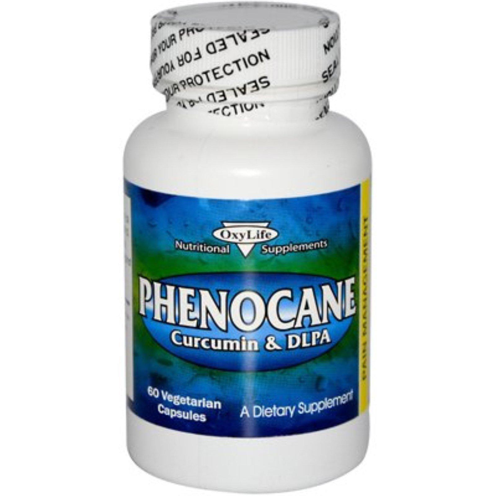 OxyLife, Phenocane, куркумин и DL фенилаланин, 60 растительных капсул