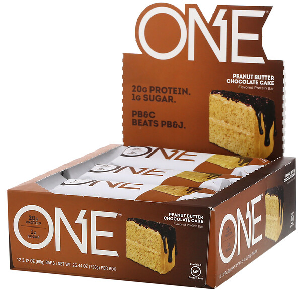 One Brands, One Bar, Peanut Butter Chocolate Cake, 12 Bars, 2.12 oz (60 g) Each