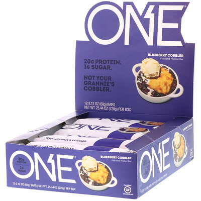 One Brands ONE Bar, Blueberry Cobbler, 12 Bars, 2.12 oz (60 g) Each