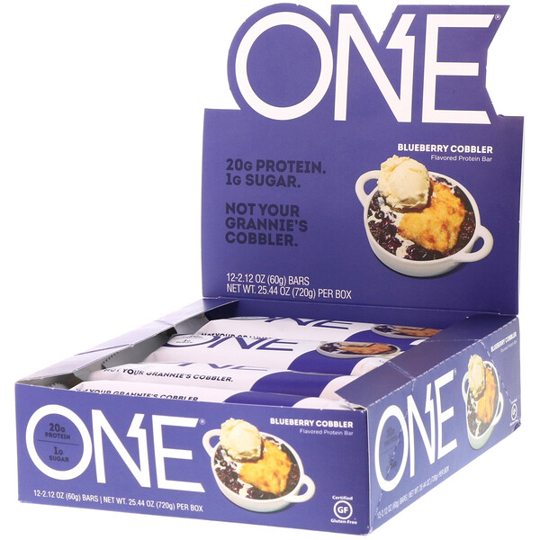 ONE Bar, Blueberry Cobbler, 12 Bars, 2.12 oz (60 g) Each